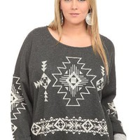 Torrid Plus Size Charcoal Tribal Pullover Sweatshirt