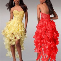 Knee length strapless sweetheart beaded tulle yellow red short Prom Dresses 2012 PDM369
