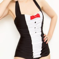 Tuxedo Black and White with Red Bowtie Formal Ruched Onepiece Swimsuit (S-XL)