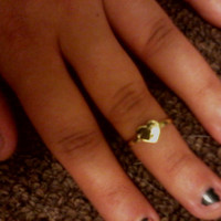 Bohemian Hippie Gold Heart Mid Finger/ Knuckle Midi Ring