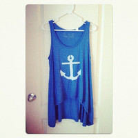 Anchor&#x27;s Aweigh hand stenciled anchor tapered tunic tank OOAK upcycled blue white