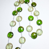 Light and Dark Green Glass Bead Necklace