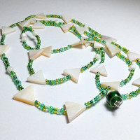 Triangle Mother of Pearl Beaded Necklace with Green Glass
