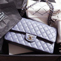 CHANEL / Double chain Shoulder Bag /Lavender Lambskin Leather
