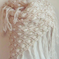 Crochet Hand  Vanilla-Ivory Shawl...wedding bridal shawl.knitting, fashion,shrug,stole, capelet, cream, women, scarflette,