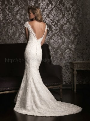 Mermaid Cap Sleeve V-back Lace Wedding Dress