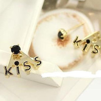 kiss letter earrings with black crystal,unique earrings, elegant  earrings EH50