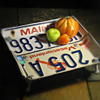 "Vintage Upcycled Maine License Plate Bowl ""Lobster Vacationland"""