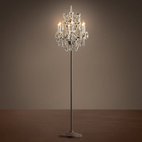 19th C. Rococo Iron &amp; Crystal Floor Lamp