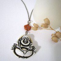 Buddha Necklace - with Czech Glass Flower Bead by 636designs