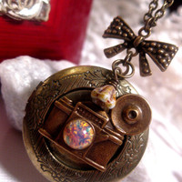 Train Stop Camera Opal Locket Necklace