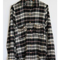 Studded Black Flannel