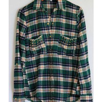 Studded Green Flannel