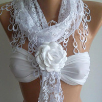 White -Elegance  Shawl / Scarf with Lacy Edge - White Rose Gift.
