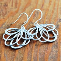 Silver Fan Earring - wire art earring, silver line layered earring, feather fan earring