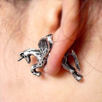 1 Pair New Punk Cute Unicorn Horse Ear Stud Earrings