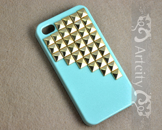 Studded Iphone Case Golden pyramid studs Light Green IPHONE 4/4S Case----for Apple iPhone 4 Case, iPhone 4s Case, iPhone 4 Hard Case
