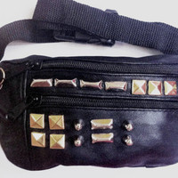 80&#x27;s Vintage Studded Black Leather FannyPack
