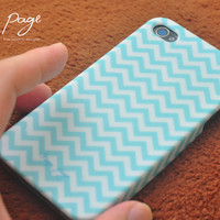 Apple iphone case for iphone iphone 4 iphone 4s iphone 3Gs : Soft blue chevron