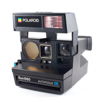 Vintage Polaroid Camera Sun 660 Autofocus SE Retro Hipster Instant Photo Special Edition Rare Blue Button