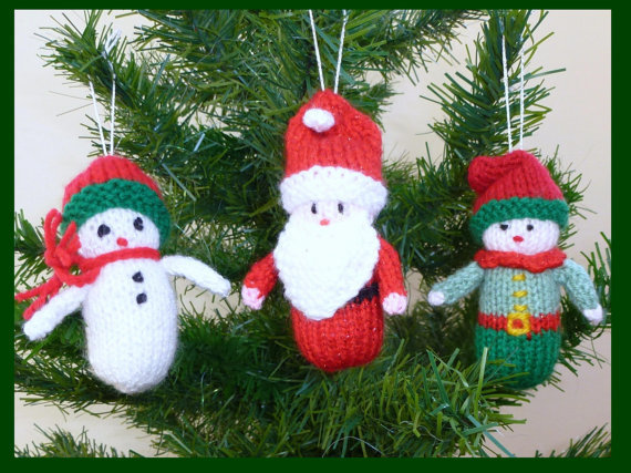 3 Knitted Christmas Decorations from MyfanwysMakes on Etsy