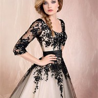Ball Gown Scoop Neckline with Long Sleeves Lace Knee Length Prom Dress PD2171 Dresses UK