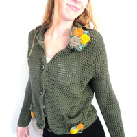 Green Knitted Cardigan Sweater, Bohemian Look for Fall