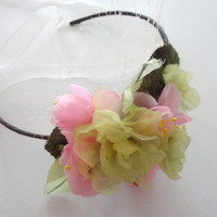 Apple Green and Pink Flower Headband