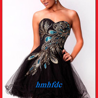 Stock US Size 4-14 Short Peacock Wedding Bridesmaid Bridal Formal Evening Dresse
