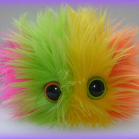 RainbowLicious  MONSTER BARF PLUSHIE with Barf Bag monster hairball barf Hot Pink Lime Green Yellow and Orange