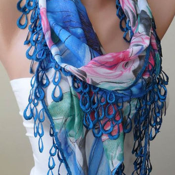 Blue Green and Pink -  Silk - Chiffon Scarf with Blue Trim Edge - Silvery Fabric