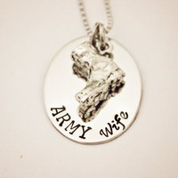 ARMY Wife - Hand Stamped Stainless Steel Necklace - Deployment Jewelry - Military Support Pendant - Armed Forces Spouse