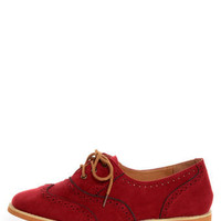 Lisa 1 Red Velvet Brogue Lace-Up Oxford Flats - $25.00