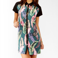 Vibrant Feather Print Shirtdress