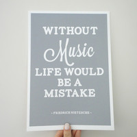 Print Life Without Music Friedrich Nietzsche Quote A4 Archival Matte Print