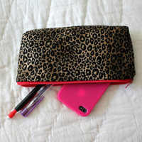 Pencil Case/Cosmetic Bag/ Gadget Case - Leopard and Red