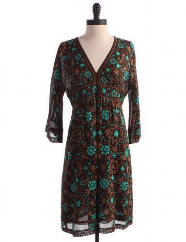 TRINA TURK Floral Dress Sz 4 Brown A-Line
