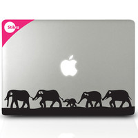 Vinyl MAC DECAL laptop stickers Wall Safari Kids Room Computer Geekery- Elephants on the Move- Removable Decal 152