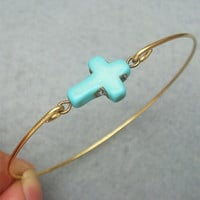 Elegant Turquoise Cross Brass Bangle Bracelet
