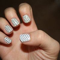 Black Chevron Vinyl Nail Decals