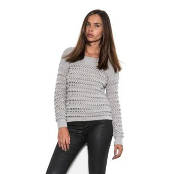 One Grey Day Whip Braided Cable with Thick Knit Stripes Women Classic Sweater