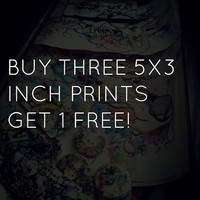 made to order art print set buy 3 5x3 inch prints and get one free. Any three abstract art illustrations  and get one free