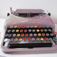 Portable Typewriter Vintage Typewriter  Remington Rand 5 with Colored Keys Unique