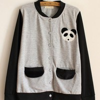 Panda Collar Pocket Patch Sweatshirt Gray$37.00