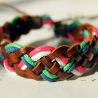 Weaved multicolor Cotton rope braid and brown Leather Wrap Bracelet W-02