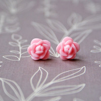 Pink Rose Cabochon Floral Earrings
