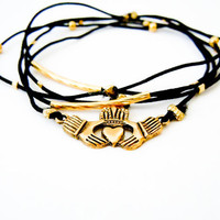 Claddagh Bracelet Set (Black and Gold)