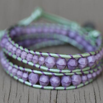 Beaded Leather Wrap Bracelet : Opaque Amethyst Luster and Sea Foam Green Bohemian Beaded Metallic Double Wrap with SIlver Floral Button