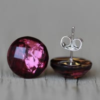 Crystal Stud Earrings : Burgundy, Red, Pink Metallic Faceted Stud Earrings, Fall/Autumn, Simple, Minimal