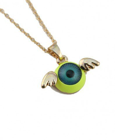 Neon Eyeball Collar Necklace with Wings